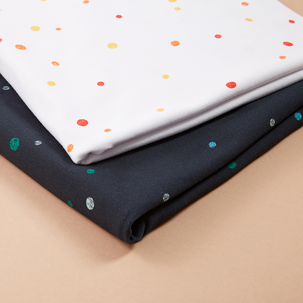 GOTS Jersey coton Points aspect impression au tampon | Tula – bleu marine