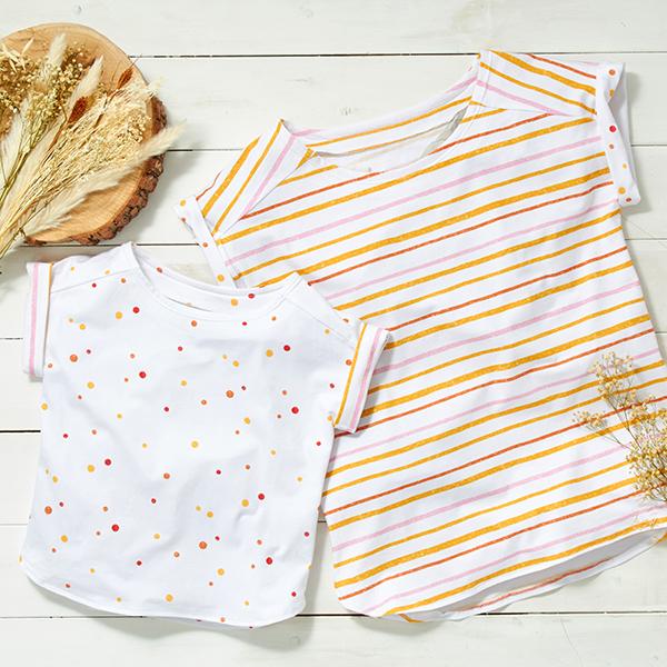 Jersey coton Tula Points aspect impression au tampon GOTS – blanc