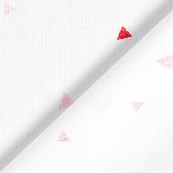 Jersey coton Tula Triangles aspect impression au tampon GOTS – blanc