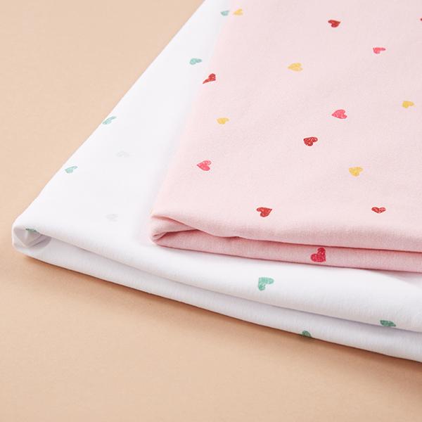 Jersey coton Tula Cœurs aspect impression au tampon GOTS – blanc