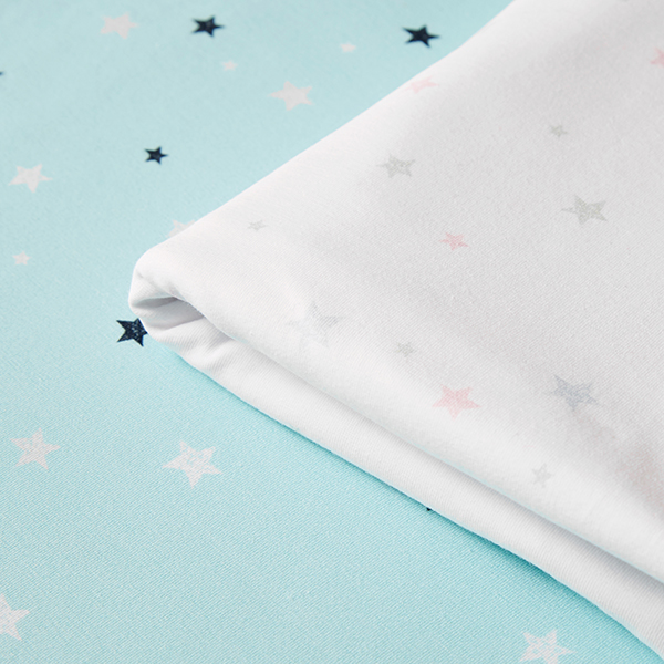 Jersey coton Tula Etoiles aspect impression au tampon GOTS – blanc