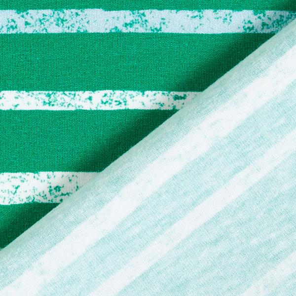 Jersey coton Tula Rayures aspect impression au tampon GOTS – vert