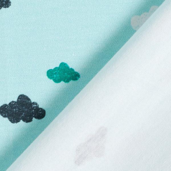Jersey coton Tula Nuages aspect impression au tampon GOTS – bleu clair