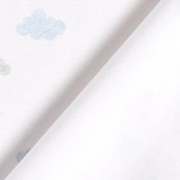 Jersey coton Tula Nuages aspect impression au tampon GOTS – blanc