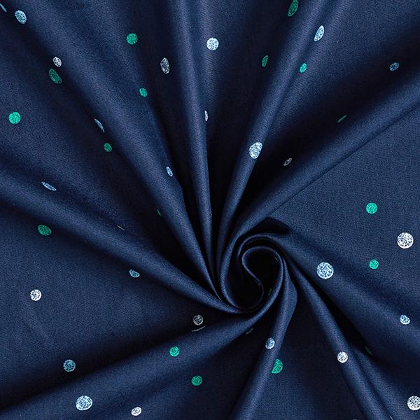 Tula popeline coton aspect griffonnage points GOTS – bleu marine