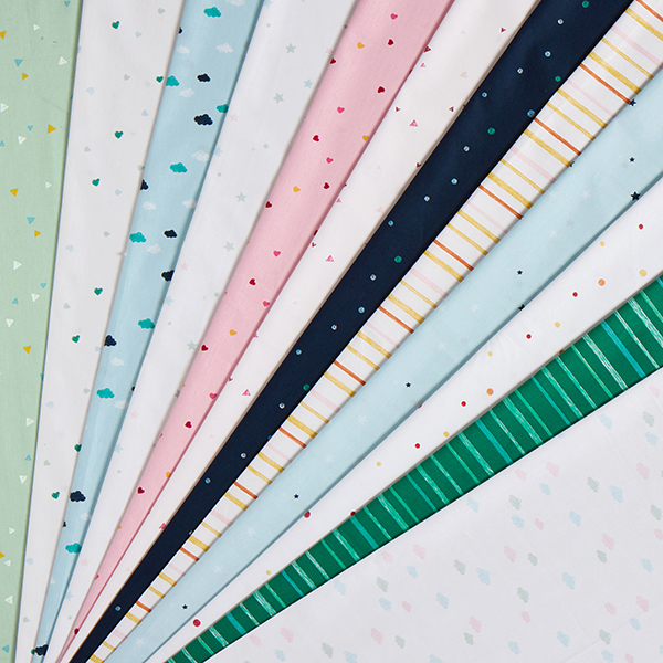 Tula popeline coton aspect griffonnage triangles GOTS – blanc
