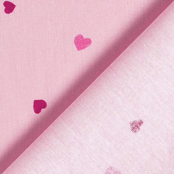 Tula popeline coton aspect griffonnage cœurs GOTS – rose