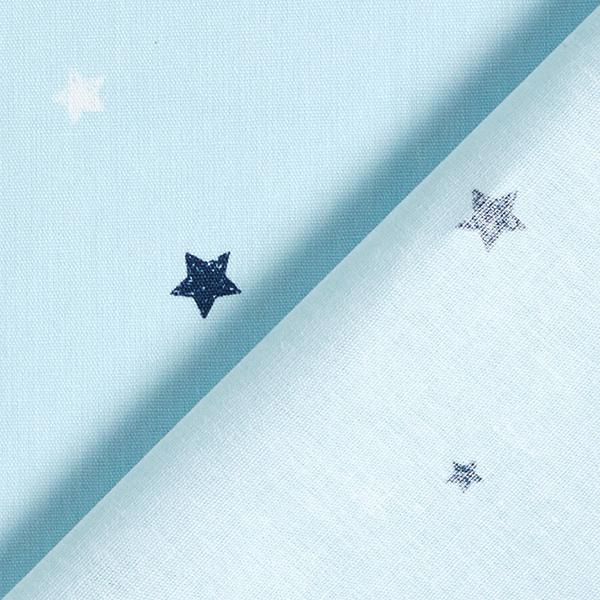 GOTS Baumwollpopeline Skribbel-Optik Sterne   Tula – hellblau