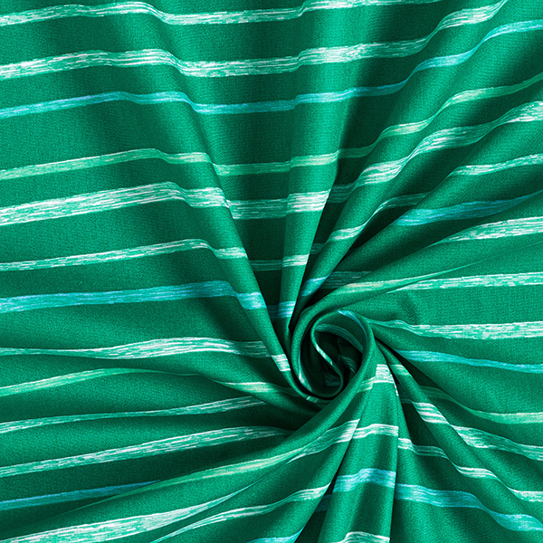 Tula popeline coton aspect griffonnage rayures GOTS – vert