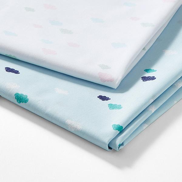 Tula popeline coton aspect griffonnage nuages GOTS – bleu clair