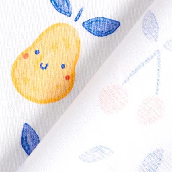 GOTS Baumwolljersey Aquarell Früchte | Tula – weiss