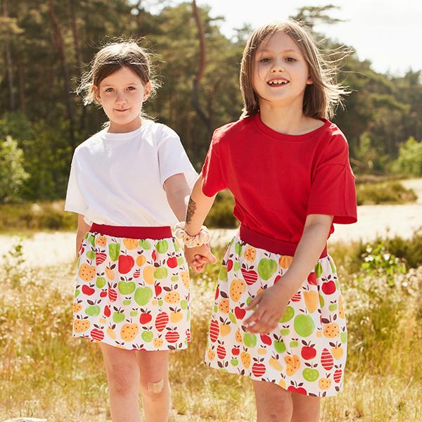 GOTS Baumwolljersey Aquarell Äpfel   Tula – rosé