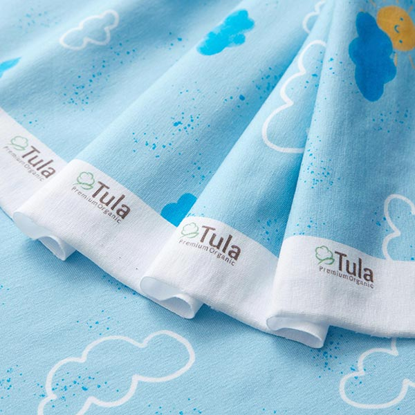 GOTS Baumwolljersey Aquarell Wolken   Tula – babyblau