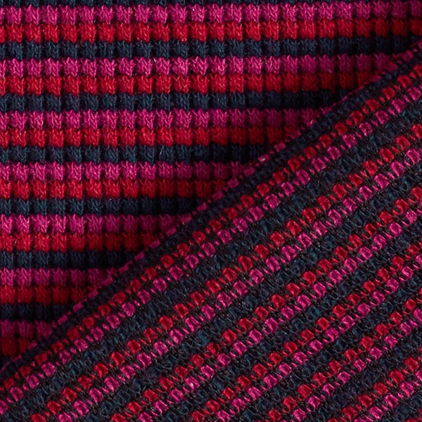 Tissu maille double côte rayures – rouge bordeaux