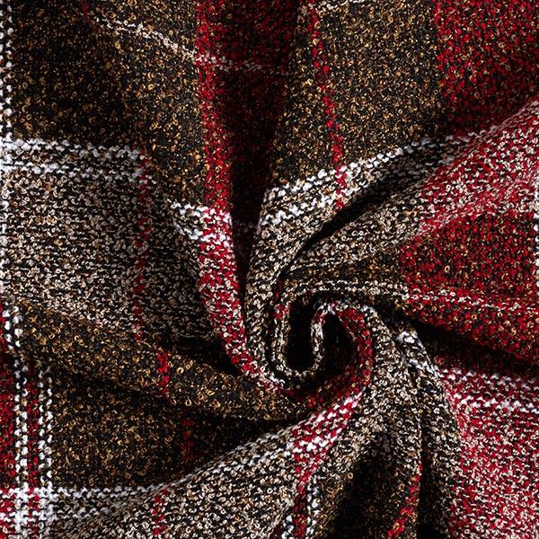 Bouclé mélange de laine carreaux – beige foncé/rouge