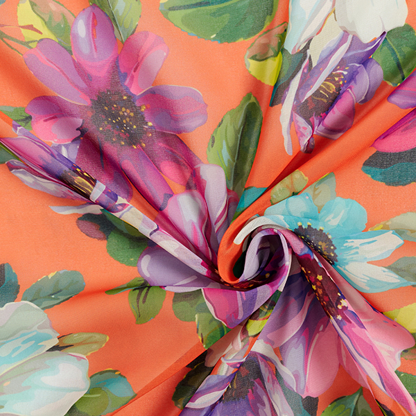Georgette Branches fleuries peintes – orange