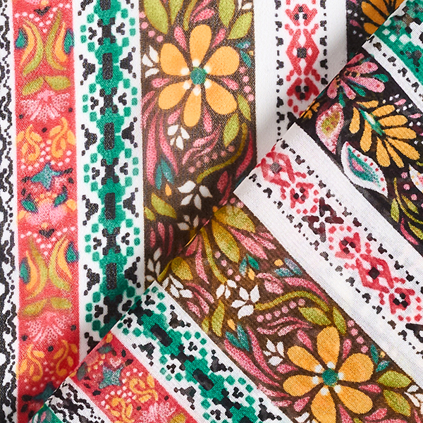 Chiffon Rayures folkloriques – vert/rose vif