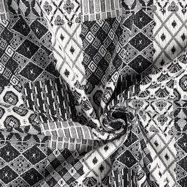 Jersey Jacquard Motif patchwork – noir/écru