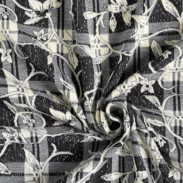 Jersey Jacquard Carreaux & rinceaux de fleurs délicats – noir/écru
