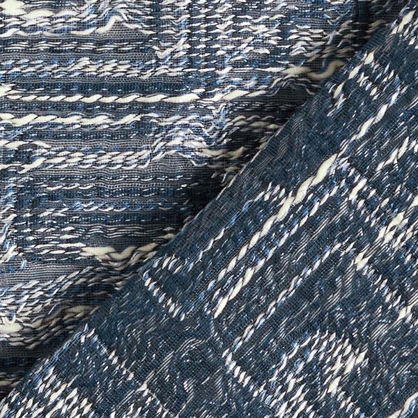 Jacquard d'habillement Look bouclé marin – bleu jean/blanc