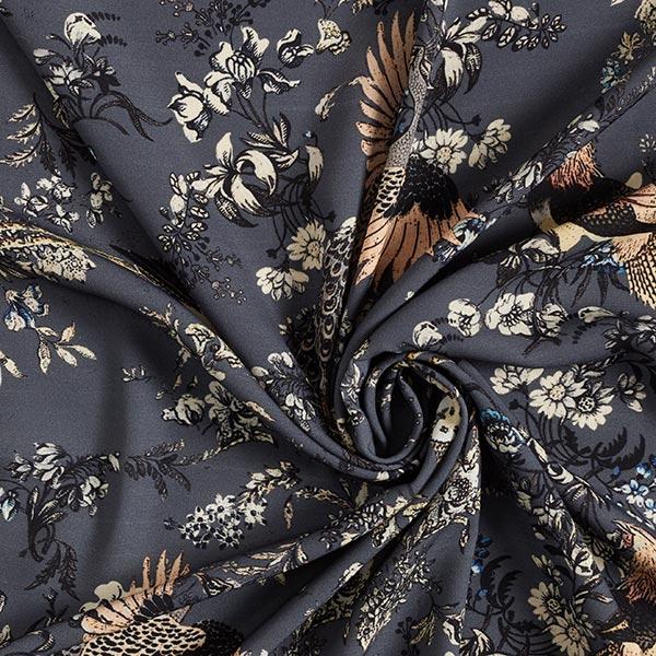 Tissu pour chemisier Paon au milieu des fleurs – gris schiste