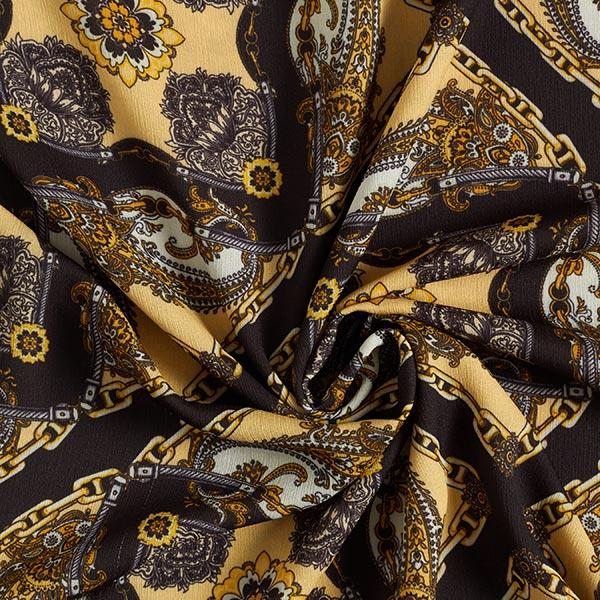 Tissu pour chemisier Tissu crêpe décors de chaînes – noir