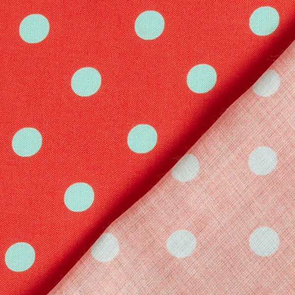 Tissu fin en viscose Points [1 cm] – rouge clair/vert pastel