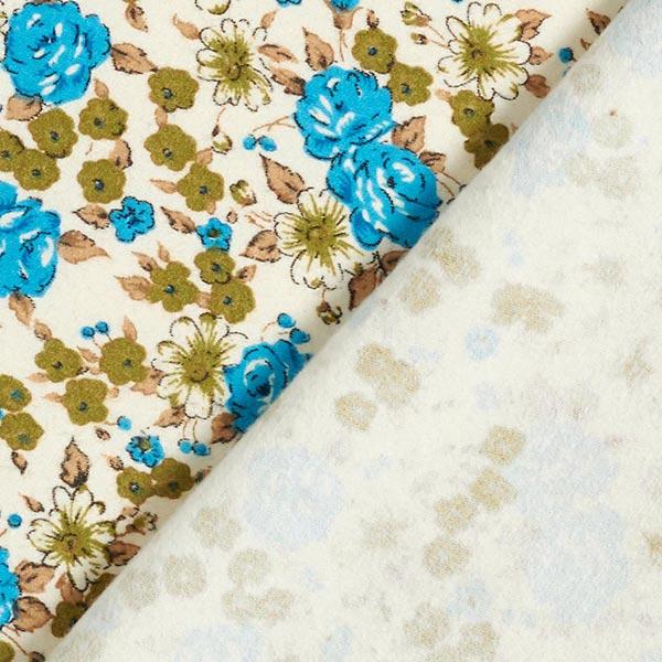 Flanelle coton Mer de fleurs – turquoise/olive