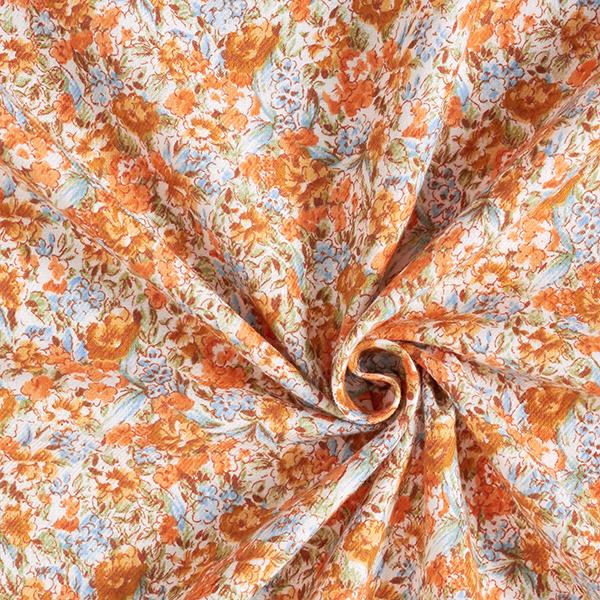 Twill Mer de fleurs – orange/bleu clair