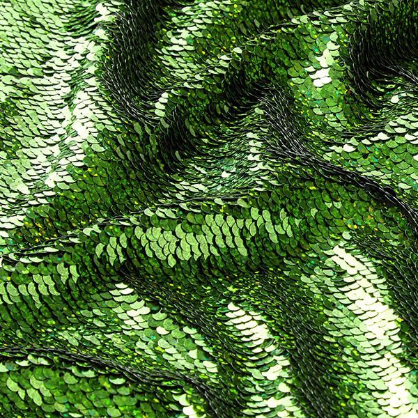 Jersey Paillettes réversibles Ecailles de sirène – vert herbe/noir