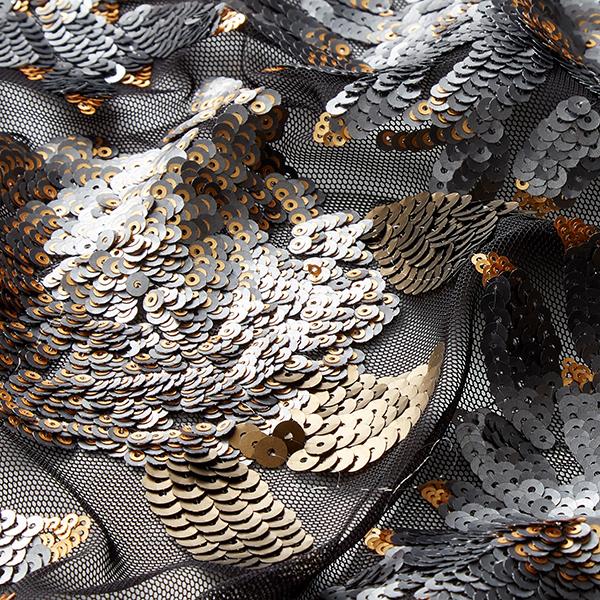Softmesh Broderie à paillettes Ornements floraux – or/noir