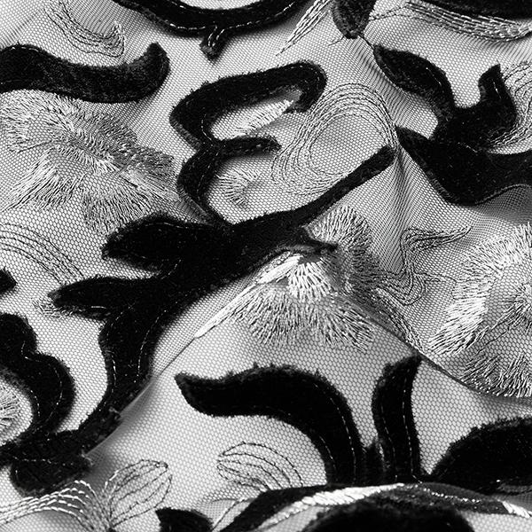 Softmesh Broderies velours & lurex – noir/argent