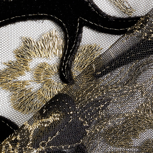 Softmesh Broderies velours & lurex – noir/or