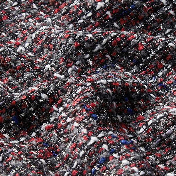 Tissu bouclé Lurex Cecilie – rouge/gris