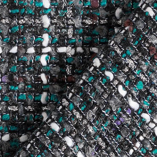 Tissu bouclé Lurex Cecilie – turquoise/gris