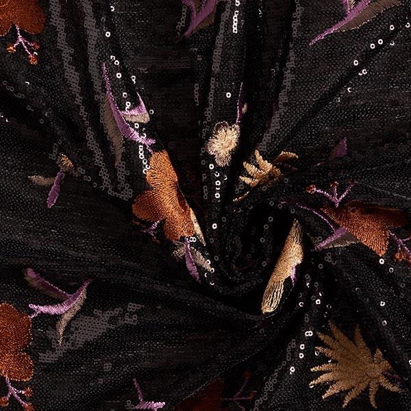 Tissu à paillettes Broderie florale – marron/mauve