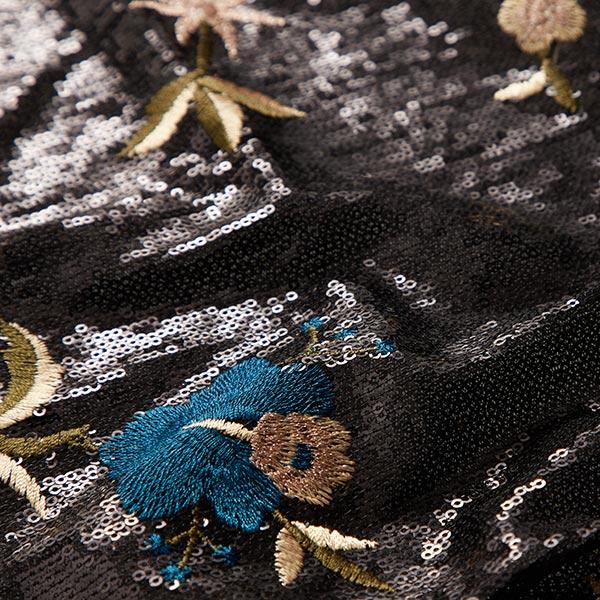 Tissu à paillettes Broderie florale – bleu turquoise/olive