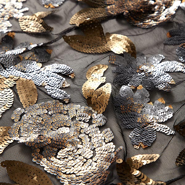 Softmesh Broderie à paillettes Motif floral – noir/or ancien