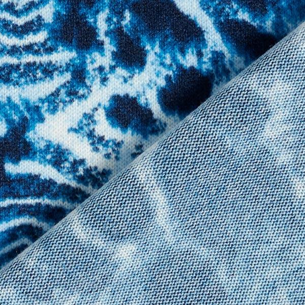 Maille fine roses & motif léopard – bleu