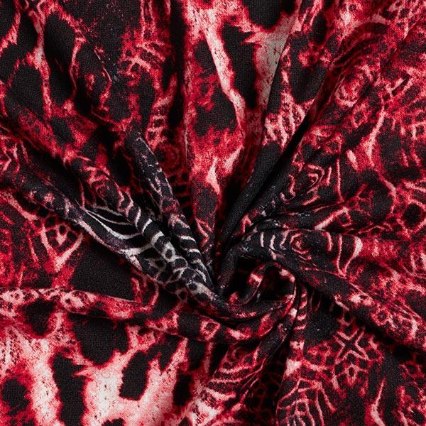 Maille fine roses & motif léopard – rouge