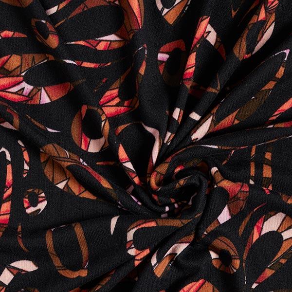 Maille fine motif graphique – noir/rouge