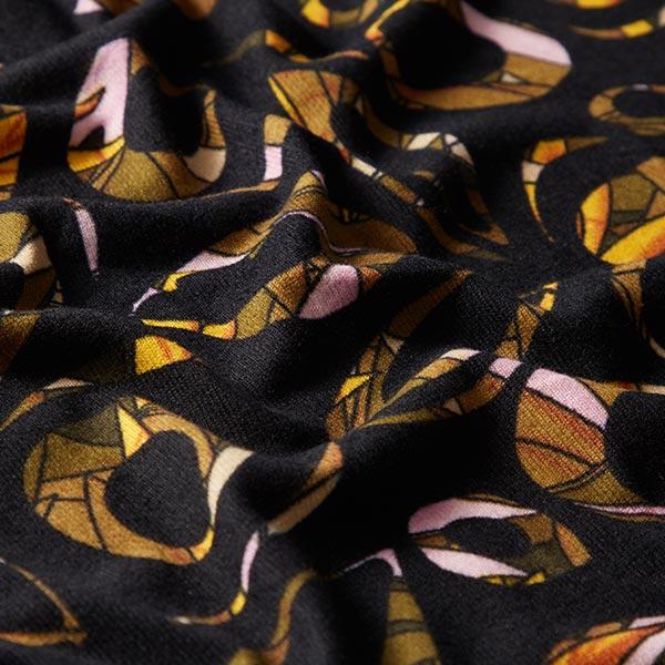 Maille fine motif graphique – noir/curry