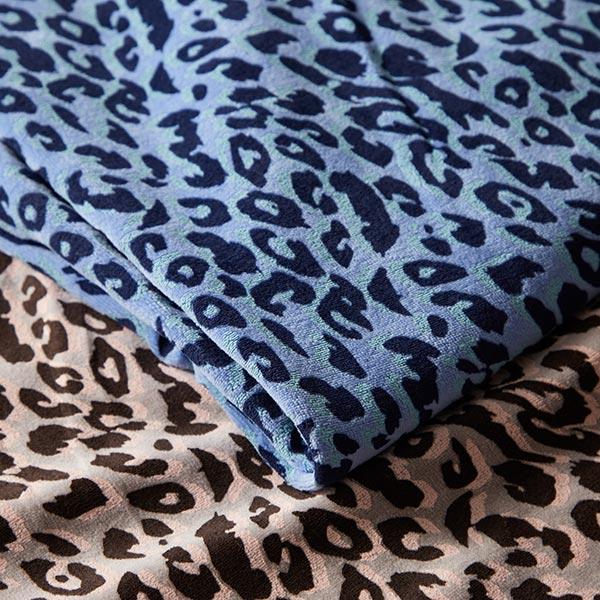 Tissu Nicki Imprimé léopard – bleu jean/turquoise