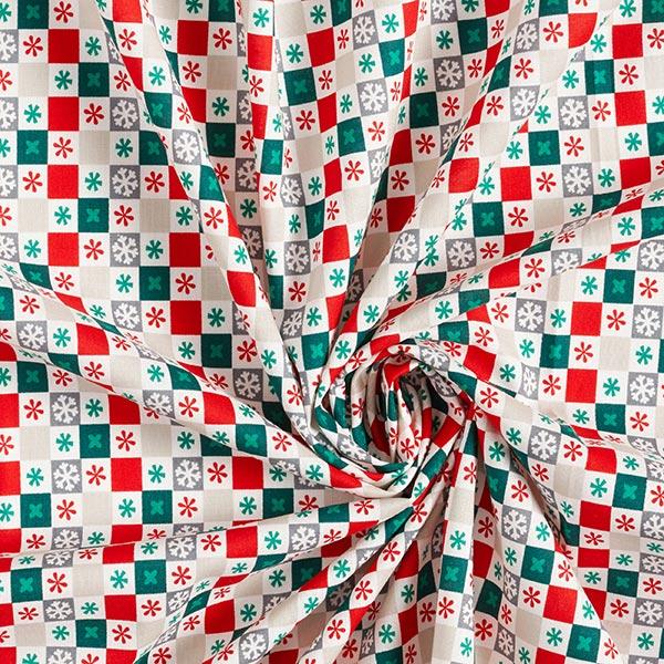 Tissu en coton cretonne Flocons de neige carreaux – rouge/vert