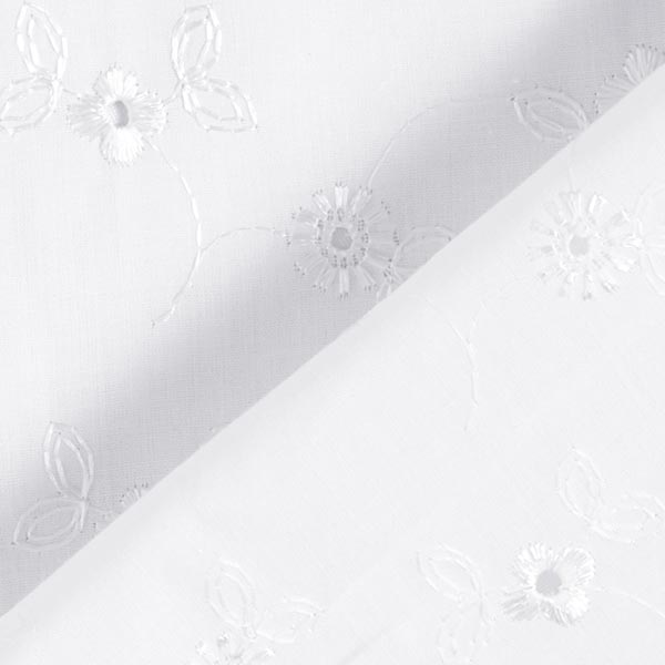 Mélange coton dentelle petites fleurs – blanc
