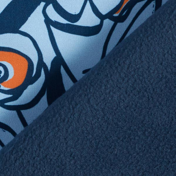 Softshell Fleurs peintes – bleu clair/orange