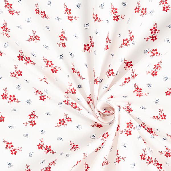 Batiste de coton fin Branches de fleurs – blanc/rouge