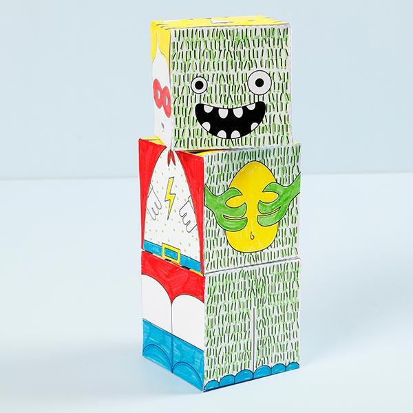 Mini set créatif Cubes à empiler - Monstre/Robot
