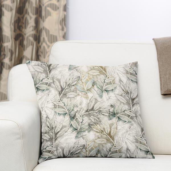 Tissu de décoration toile Feuilles dorées – roseau/or