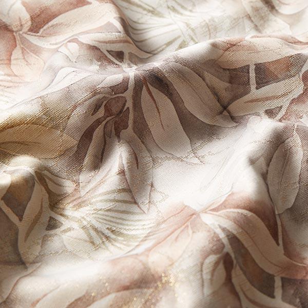 Tissu de décoration toile Feuilles dorées – terre cuite/or